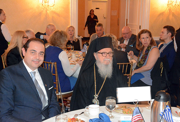 Archbishop Demetrios with the event's Chairman and head of the Club's Greek Department, Mr. Harris Pateroulakis