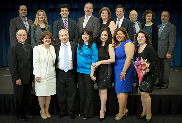 Top row from left to right: Kosta & Jennifer Gerakaris, Consul of Greece Manos Koubarakis, Angelo Mallas, Dena & Charles Capetanakis, Harvey & Kay Newman, Dean Angelakos Bottom row: Father Damaskinos Ganas, Christina Tettonis, Nick Leonardos, Effie Lekas, Joy Petrakos, Natasha Caban, Effie Leonardos