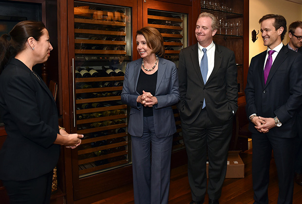 At the Washington DC book party: House Democratic Leader Pelosi making remarks