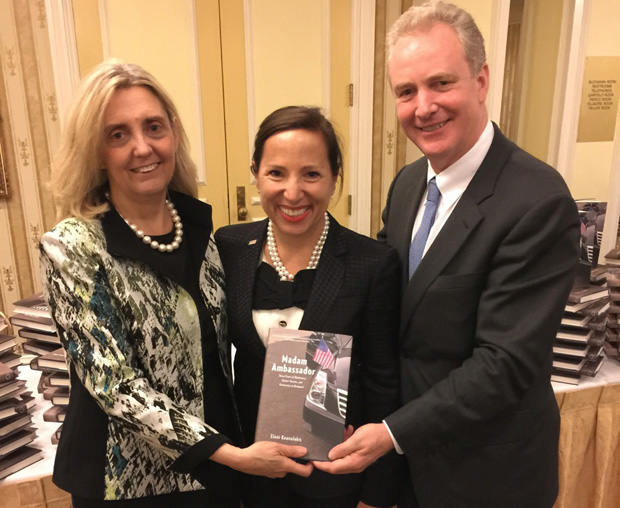 From right, Congressman Chris Van Hollen, Eleni Tsakopoulos Kounalakis and the Congressman's wife Katherine