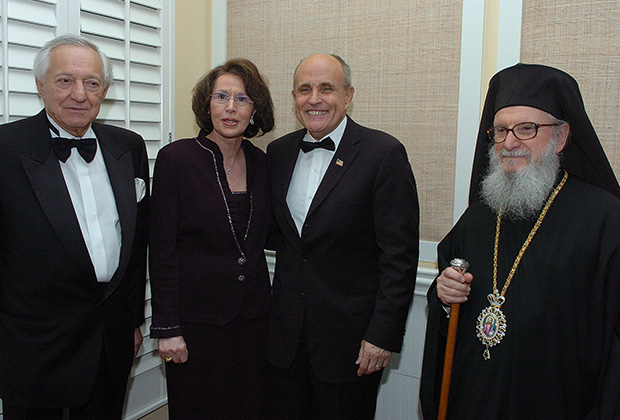 (L to R) George Behrakis, Paulette, Mayor Rudolph Giuliani, PHOTO: DIMITRIOS PANAGOS
