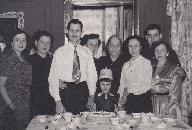 Paulette's birthday party with her parents Charles and Rebecca Poulos and other family members