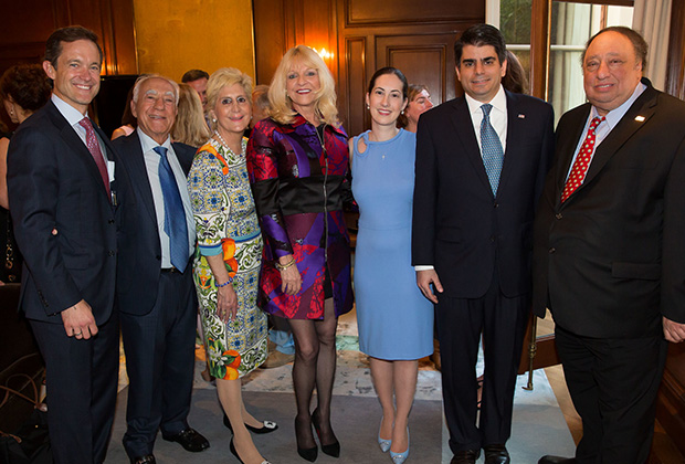 Mike Manatos, Angelo and Sophia Tsakopoulos (Eleni's father and step mother), Margo Catsimatidis, Chrysa Tsakopoulos Demos (Eleni's sister) and George Demos, and John Catsimatidis who hosted a book signing event at his New York City apartment