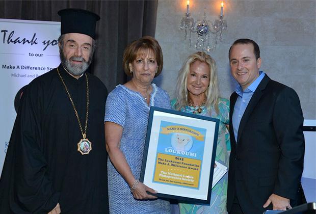 Bishop Sevastianos, Georgia Vlitas, Aphrodite Skeadas receive The Loukoumi Make A Difference Award to National Philoptochos Society from Nick Katsoris, PHOTO: JILLIAN NELSON
