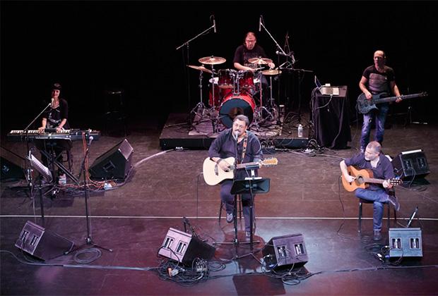 "From AKTINA's ""GREEK MUSIC JOURNEY"", November 7, 2013, at the Kaye Playhouse. From left, Zinovia Arvanitidi, Lavrentis Machairitsas, Panagiotis Margaris. From back center Filippos Spyropoulos and back right Akis Amprazis,PHOTO: ANASTASIO MENTIS"