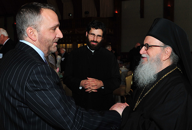 George Pelecanos with Archbishop Demetrios at the San Diego Leadership 100 Conference where he was guest speaker, PHOTO: DIMITRIOS PANAGOS