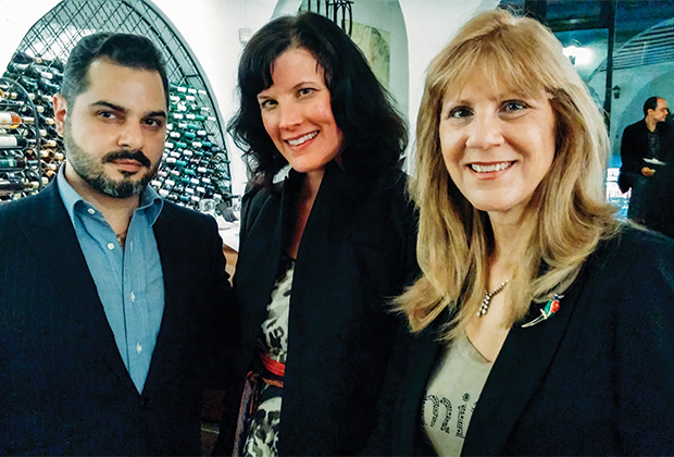 From left, Aristos Constantine, Cyprus Trade Commissioner in NY, Susan Korstrewa, Executive Editor Wine Enthusiast Magazine, Elena Maroulleti, President CYPRECO