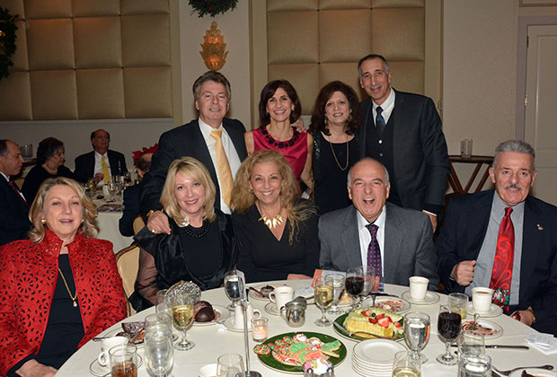 Paul Macropoulos, Penny Makris, Marie Kratsios, John Gionis, Esq. Sitting from left are, Evangelia Dushas, Bibbijoe Macropoulos, Drs. Anna & Michael Georgas, Tom Dushas, PHOTO: ETA PRESS