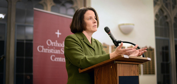 "Elizabeth Blake lectures on her book, ""Dostoevsky and the Catholic Underground"" - PHOTO BY JOANNA MERCURI"