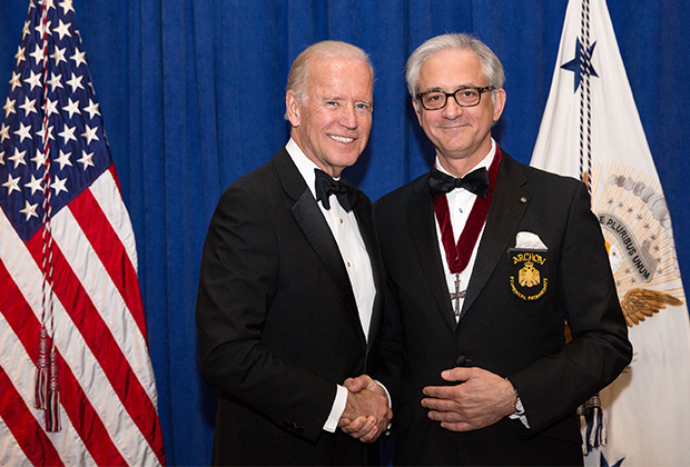 George S. Tsandikos with United States Vice President Joseph R. Biden, recipient of Athenagoras Human Rights Award at Order of Saint Andrew, Archons of Ecumenical Patriarchate Grand Banquet in October of 2015 (Official White House Photo by Amanda Lucidon)