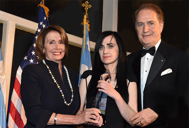 House Democratic Leader Nancy Pelosi and Andy Manatos present Dinara Yunus, daughter of Leyla Yunus, with the 2015 Battle of Crete Award, PHOTO BY: BILL PETROS