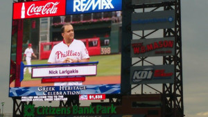 Throwing out the first pitch at the annual Greek Heritage Night at the Philadelphia Phillies
