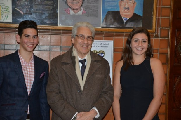 Angelo Katopodis, Vice President of The Manhasset Hellenic Club, Dr. Thanos Catsambas and Evangelia Frankis, President of the Manhasset Hellenic Club.
