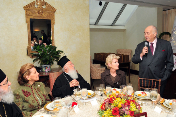 From an event when Michael and Mrs. Jaharis hosted Patriarch Bartholomew, Archbishop Demetrios, the Met Museum President Emily Rafferty and the Founders of Faith Endowment at the Metropolitan Museum (and private tour of the Mary and Michael Jaharis Galleries of Byzantine Art, Photo DIMITRIOS PANAGOS