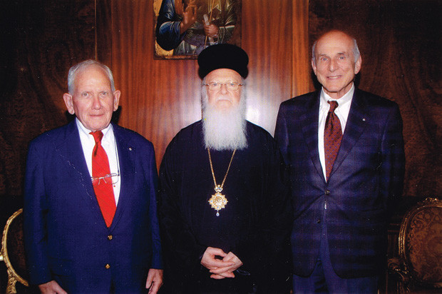 Michael Johnson with Ecumanical Patriarch Bartholomew and Andy Andrikopoulos