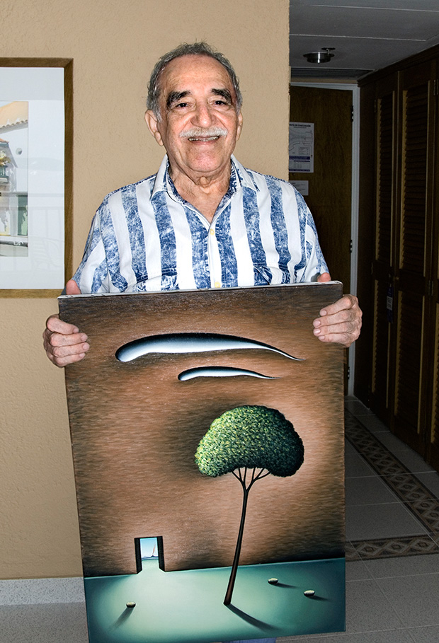 Marquez with my painting Innocent Prisoner