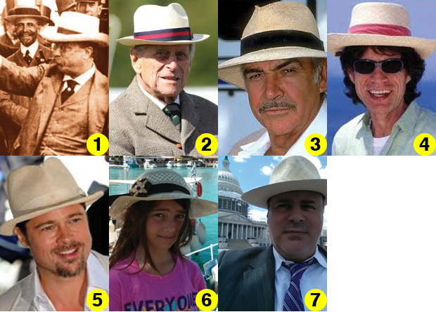 1 - Sombrero-panama ...) President Theodore Roosevelt; 2 - Philip, Duke of Edinburgh; 3 - Sean Connery; 4 - Mick Jagger; 5 - Brad Pit; 6 - Kyriake Rompotis with one of Mr. Pachay's hats in Lefkas Island, Greece; 7 - And last but not least, NEO's Demetrios Rhompotis!