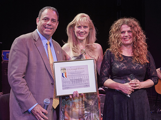 "Eleni Tsaligopoulou being honored with ""AKTINA's Distinguished Artist Award"" and with a Citation on behalf of the City of New York. From left NYC Council Member Costa Constantinides, Elena Maroulleti, concert Executive Producer and President of AKTINA & CYPRECO, and Eleni Tsaligopoulou. PHOTO: ANASTASSIOS MENTIS"