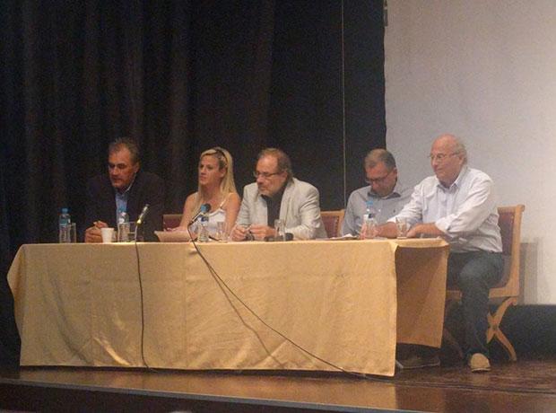 The speakers, Stratis Zafeiris, Dr. Vlassis Agtzidis, Nick Kakaris, Liana Lekanidis, Stelios Fenekos, Dr. Nikolaos Uzunoglu