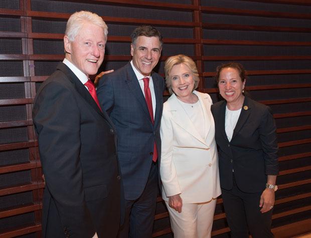 Ambassador Eleni Tsakopoulos Kounalakis with Hillary Clinton, Markos Kounalakis and Bill Clinton