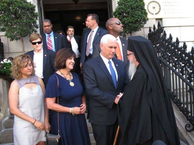 Republican Candidate for Vice President Mike Pence and family visiting Archbishop Demetrios