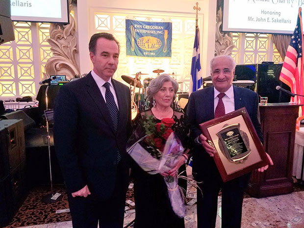 John & Zoe Sakellaris at the Pan Gregorian Annual Gala with Consul General of the Hellenic Republic Kostas Koutras