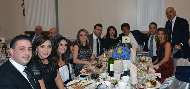 Nikos and son Elias Fillas with members of their families and friends
