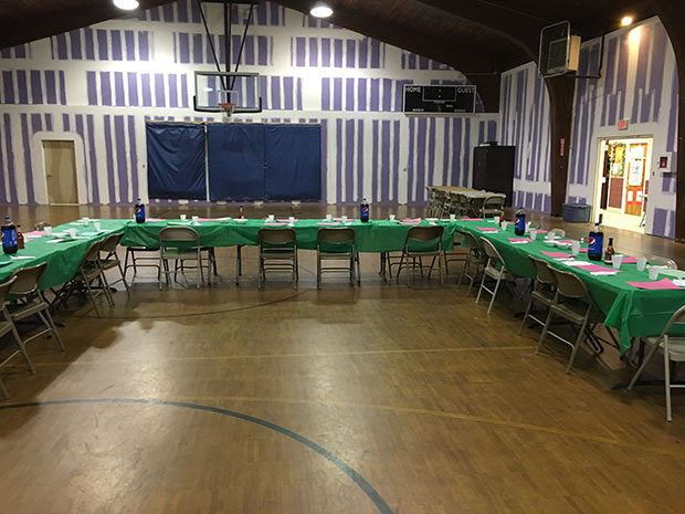 The luncheon set up for the homeless and the needy
