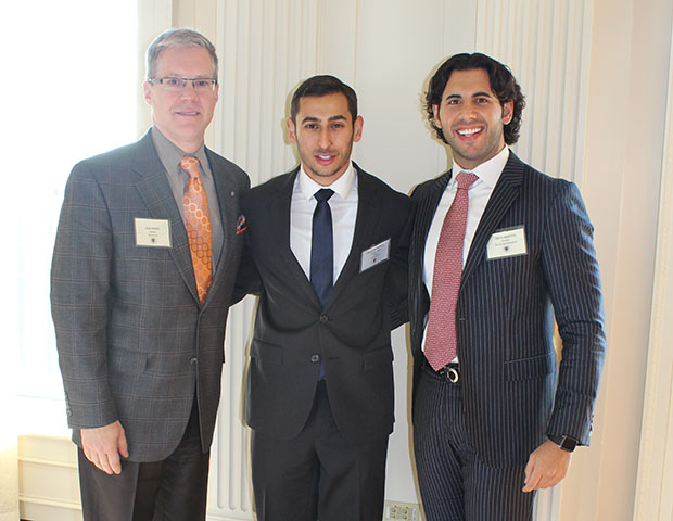 From left, Drake Behrakis, President, Marwick Group, Konstantine Ouranitsas, Chairman, National Hellenic Student Association of North America, and Christos Marafatsos, President, Blue Sky Capital and Donald Trump's Greek American liaison.