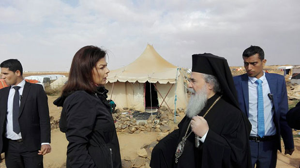 Ms. Wafa Goussous, director at the Middle East Council of Churches Orthodox Initiative with the patriarch during his visit