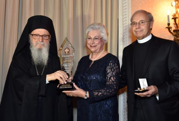 The parents of White House Director of Advance George Gigicos, one of the three honorees, accepting his award. Father Dean Gigicos and Presbytera Elaine Gigicos