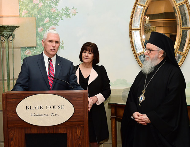 Vice President and Mrs. Pence with Archbishop Demetrios, PHOTO: GANP/DIMITRIOS PANAGOS