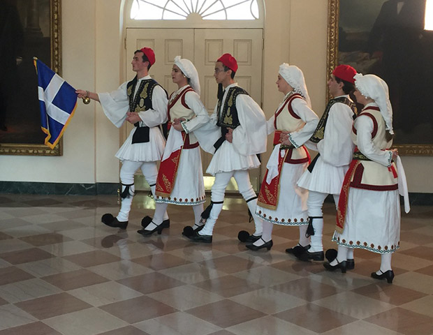 Greek youth group dancing in the White House