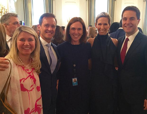 White House Social Secretary Rickie Nicetta with Tom and Dana Manatos, Mike and Laura Manatos
