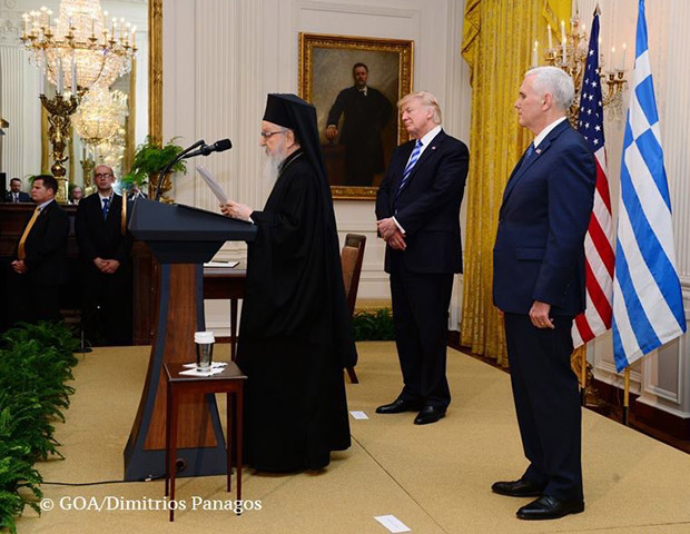 Archbishop Demetrios, President Trump and Vice President Pence