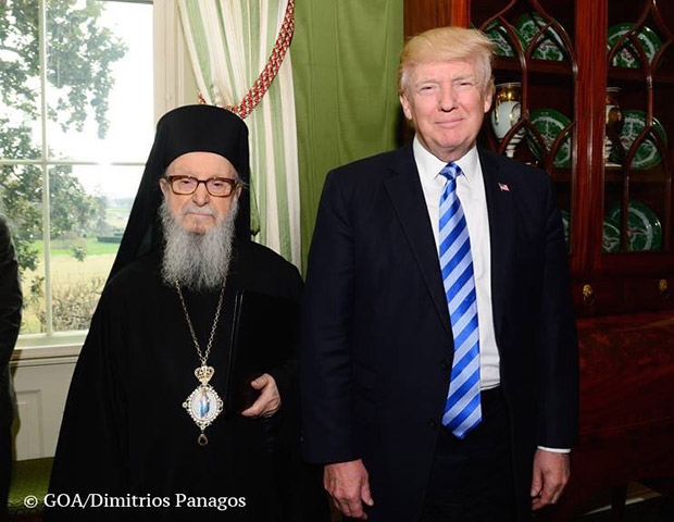 President Donald Trump and Archbishop Demetrios