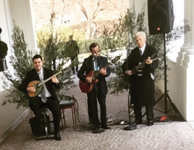 Bouzouki music greeting visitors as they arrived at the White House