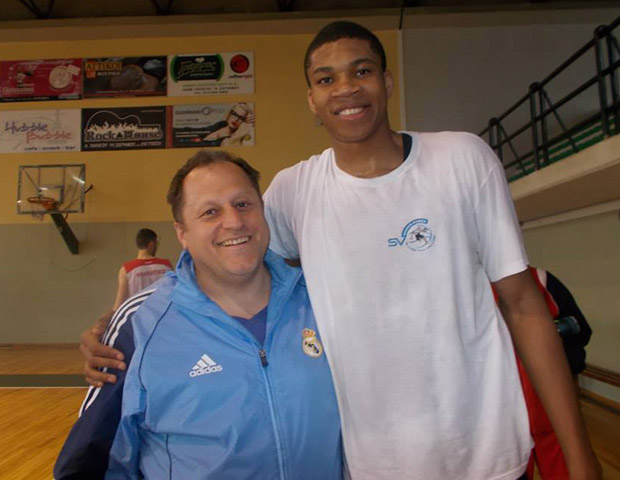 Spiros Veliniatis with his protege Giannis Antetokounmpo