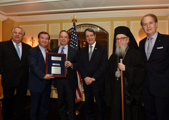 L-R: Philip Christopher, Chairman Ed Royce, Reince Priebus, President Nicos Anastasiades, His Eminence Archbishop Demetrios, Andy Manatos