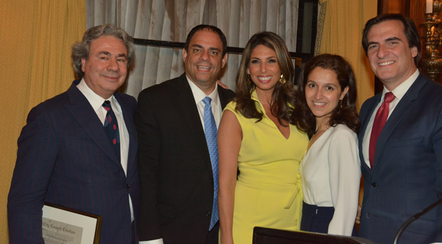 Nikos with NYC Council member Costa Constantinides, Nicole Petallides, Assemblywoman Aravella Simotas and State Senator Mike Gianaris, PHOTO: ETA PRESS