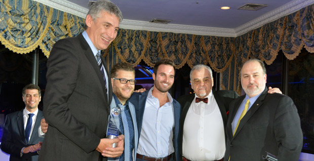 Honoree Panagiotis Fasoulas with Panos Santzoglou, Michalis Kakiouzis, Kostas Angeloudis and Peter Vlitas. Photo ETA Press