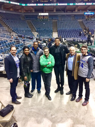 Nikolas Katsimpras (HALC), Victoria and Charles Antetokounmpo (Honorees), Panos Satzoglou (Cosmos FM Program Director), Gianis Antetokounmpo (Honoree), Kostas Angeloudis (Cosmos FM Chairman), and Taso Pardalis (Event Co-Chair), PHOTO: PARDALIS & NOHAVICKA