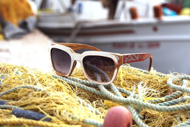Gregos: his limited edition line of sunglasses is made from the wood of a boat built in 1979 and every pair is unique and numbered