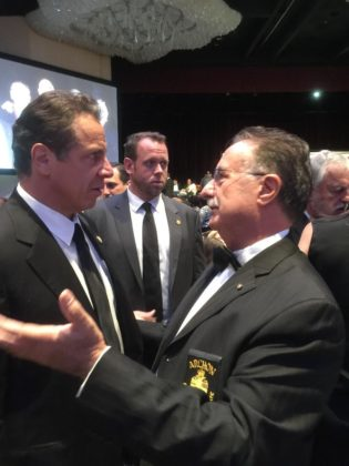 Chatting with New York Governor Andrew Cuomo regarding the St. Nicholas Shrine at the Archon Awards Reception.