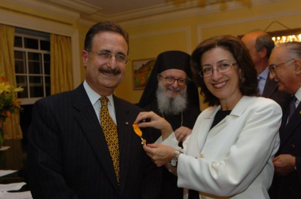 Gold Cross of the Order of the Phenix, bestowed on behalf of President of the Hellenic Republic Costis Stefanopoulos by Consul General Catherine Bouras in NYC