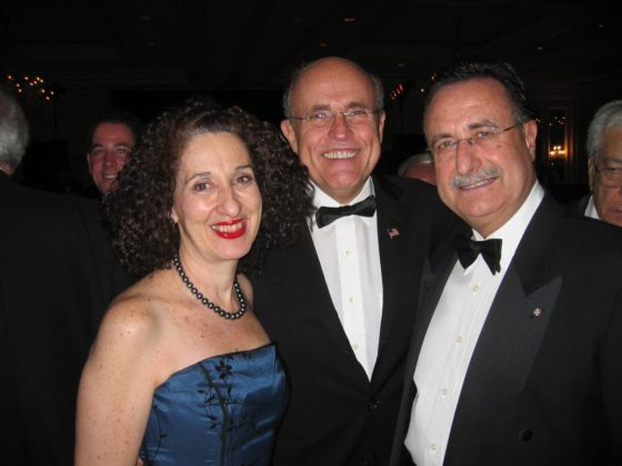With Mayor of New York Rudy Giuliani at a Leadership 100 reception