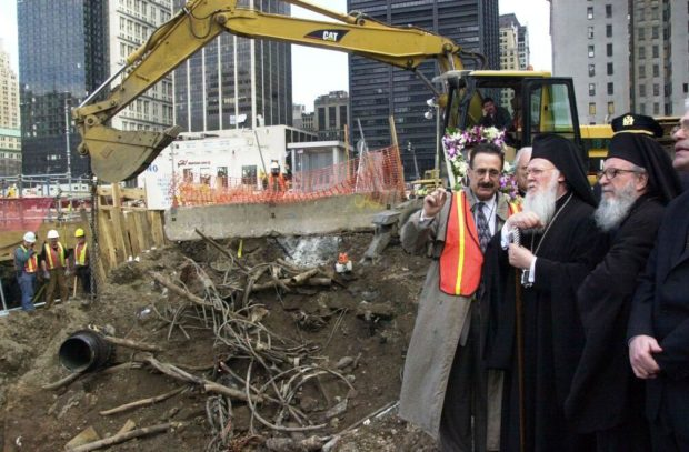 Hosting Ecumenical Patriarch Bartholomew and Archbishop Demetrios of America at Ground Zero after the Sept. 11 attack