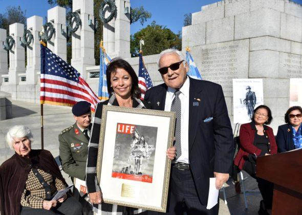 WWII veteran George Possas and his daughter Denise Possas Bocchicchio