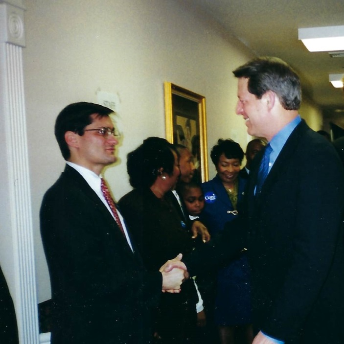 James Cargas and Al Gore campaigning in Dallas in 2000