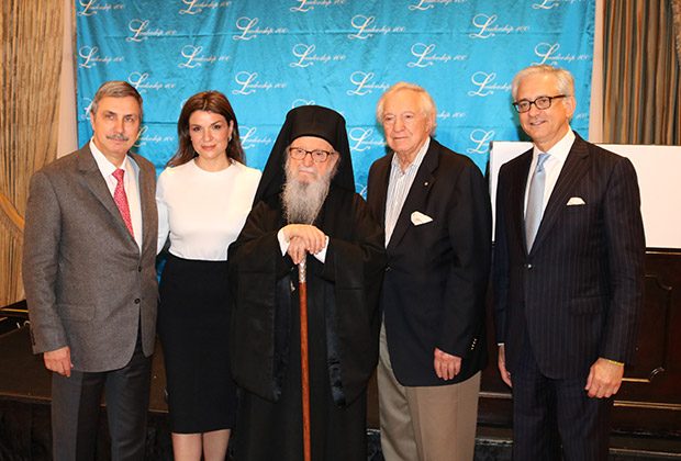 Dr. Anthony Papadimitriou, Afroditi Panagiotakou, Archbishop Demetrios, George Behrakis and George Tsandikos